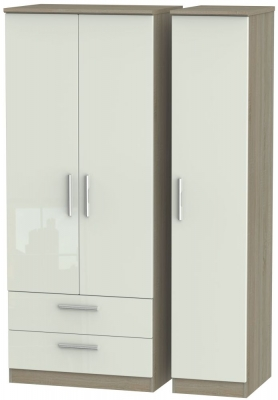 Knightsbridge 3 Door 2 Left Drawer Wardrobe - High Gloss Kaschmir and Darkolino