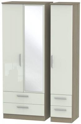 Knightsbridge 3 Door 4 Drawer Tall Combi Wardrobe - High Gloss Kaschmir and Darkolino