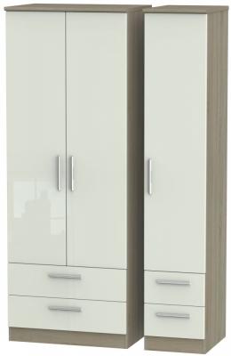 Knightsbridge 3 Door 4 Drawer Tall Wardrobe - High Gloss Kaschmir and Darkolino