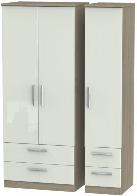 Knightsbridge 3 Door 4 Drawer Wardrobe - High Gloss Kaschmir and Darkolino