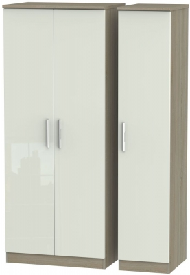 Knightsbridge High Gloss Kaschmir and Darkolino 3 Door Plain Triple Wardrobe