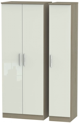 Knightsbridge High Gloss Kaschmir and Darkolino 3 Door Tall Plain Triple Wardrobe