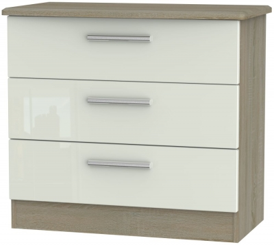 Knightsbridge 3 Drawer Chest - High Gloss Kaschmir and Darkolino