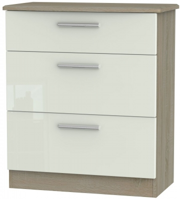 Knightsbridge 3 Drawer Deep Chest - High Gloss Kaschmir and Darkolino