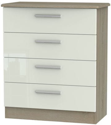 Knightsbridge 4 Drawer Chest - High Gloss Kaschmir and Darkolino