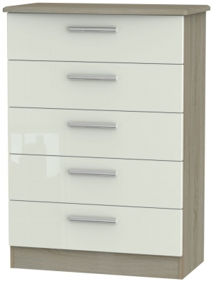 Knightsbridge 5 Drawer Chest - High Gloss Kaschmir and Darkolino