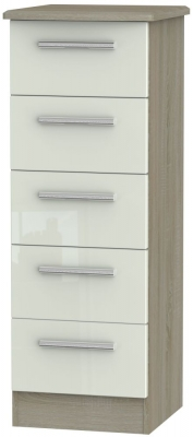 Knightsbridge 5 Drawer Tall Chest - High Gloss Kaschmir and Darkolino