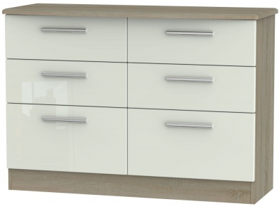 Knightsbridge 6 Drawer Midi Chest - High Gloss Kaschmir and Darkolino
