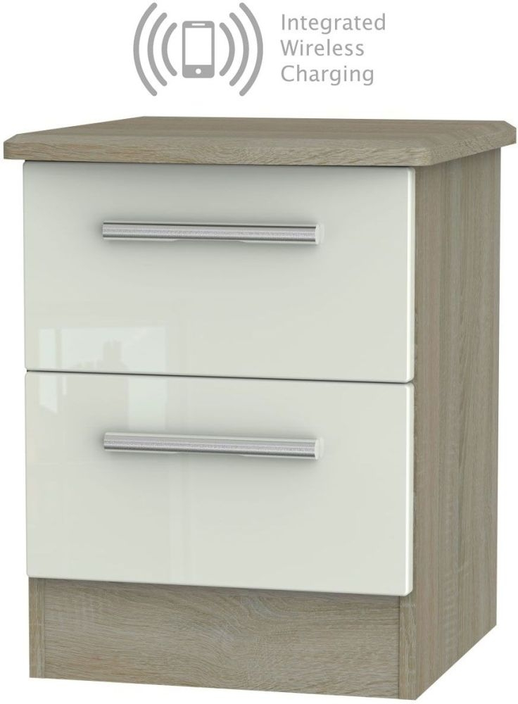 Knightsbridge 2 Drawer Bedside Cabinet with Integrated Wireless Charging - High Gloss Kaschmir and Darkolino