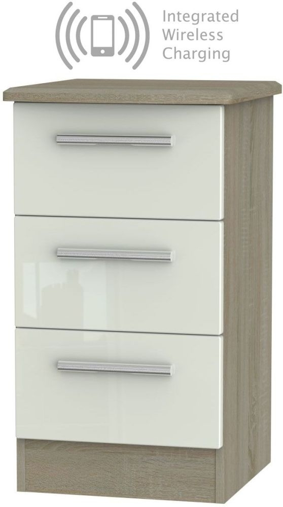 Knightsbridge 3 Drawer Bedside Cabinet with Integrated Wireless Charging - High Gloss Kaschmir and Darkolino