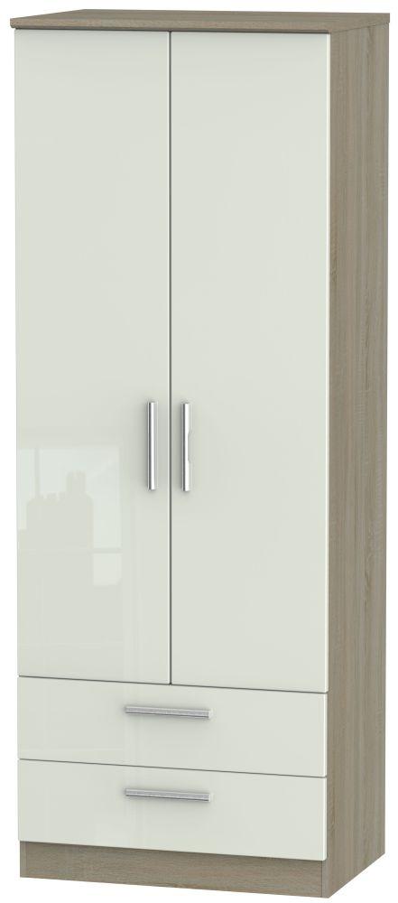 Knightsbridge 2 Door 2 Drawer Tall Wardrobe - High Gloss Kaschmir and Darkolino