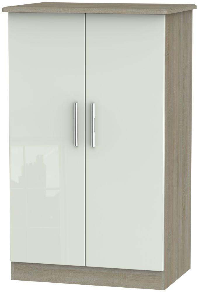 Knightsbridge 2 Door Midi Wardrobe - High Gloss Kaschmir and Darkolino