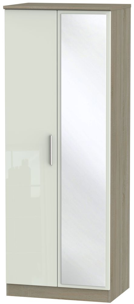 Knightsbridge High Gloss Kaschmir and Darkolino 2 Door Tall Mirror Double Wardrobe
