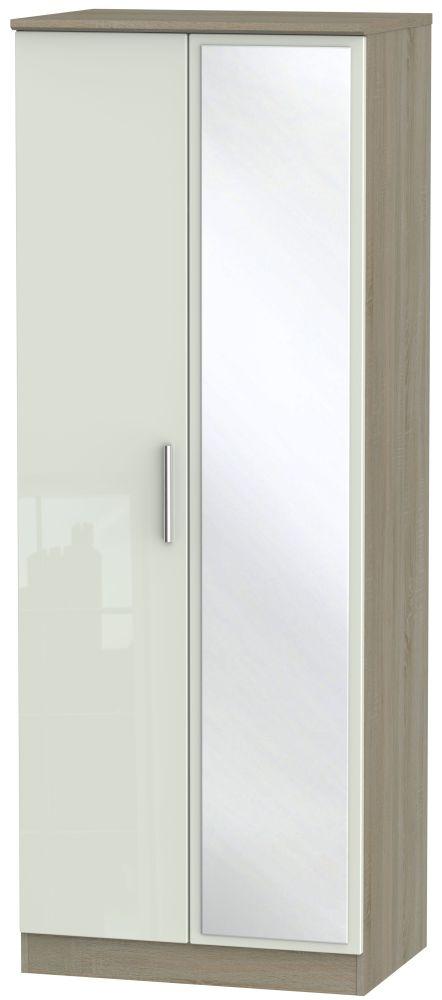 Knightsbridge High Gloss Kaschmir and Darkolino 2 Door Tall Mirror Double Wardrobe