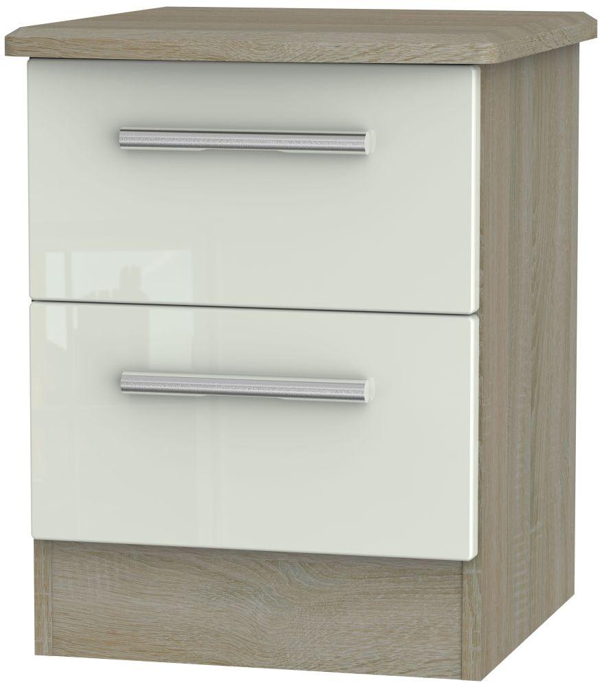 Knightsbridge 2 Drawer Bedside Cabinet - High Gloss Kaschmir and Darkolino