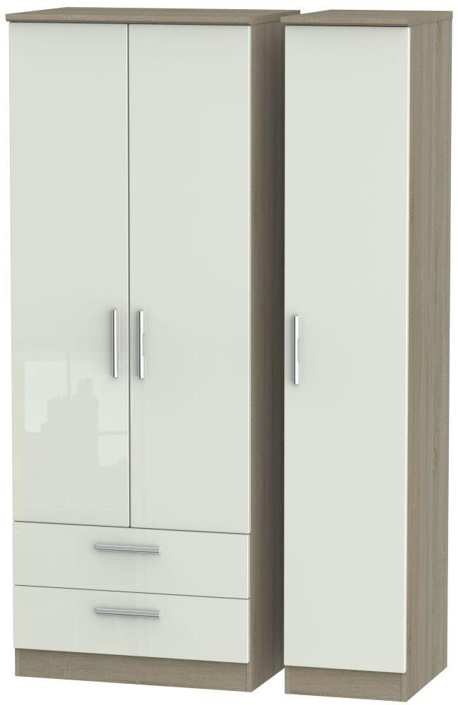 Knightsbridge High Gloss Kaschmir and Darkolino 3 Door 2 Drawer Tall Triple Wardrobe