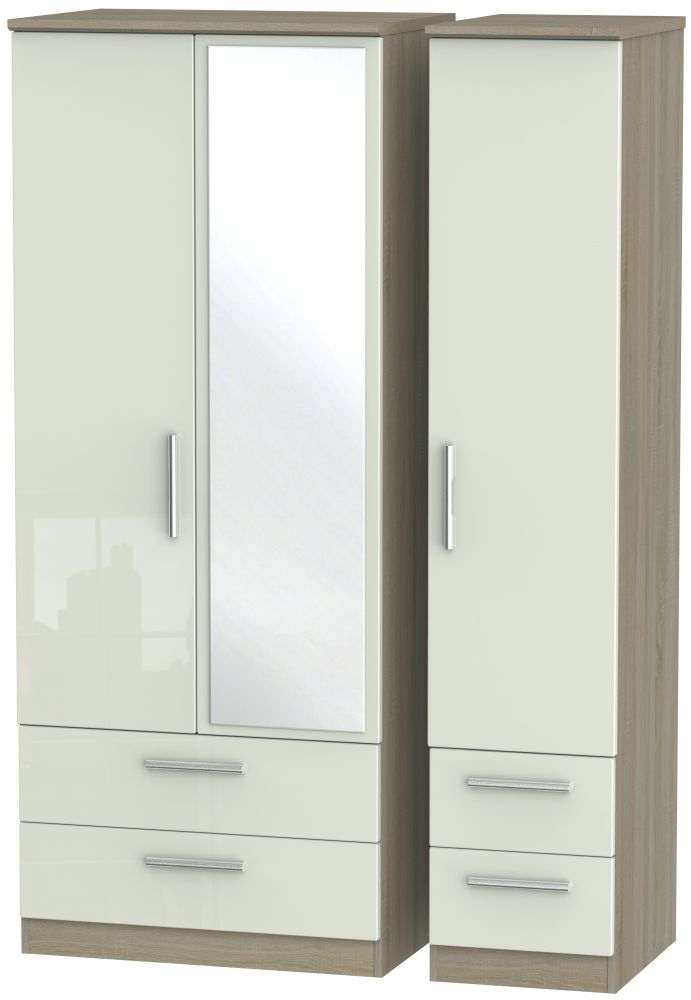Knightsbridge High Gloss Kaschmir and Darkolino 3 Door 4 Drawer Mirror Triple Wardrobe