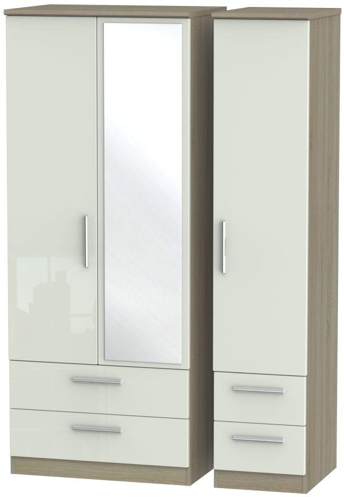 Knightsbridge 3 Door 4 Drawer Combi Wardrobe - High Gloss Kaschmir and Darkolino