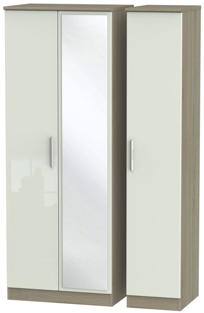 Knightsbridge High Gloss Kaschmir and Darkolino 3 Door Tall Mirror Triple Wardrobe