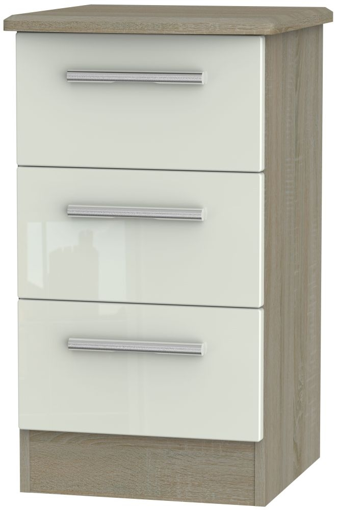 Knightsbridge High Gloss Kaschmir and Darkolino 3 Drawer Locker Bedside Cabinet