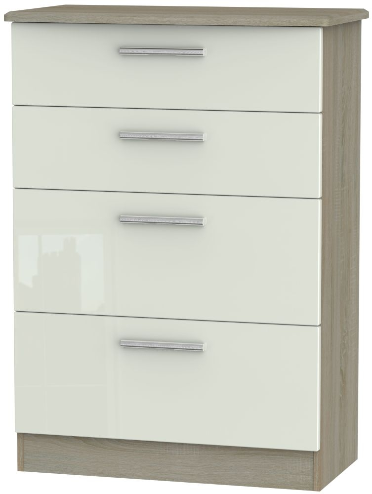 Knightsbridge High Gloss Kaschmir and Darkolino 4 Drawer Deep Chest