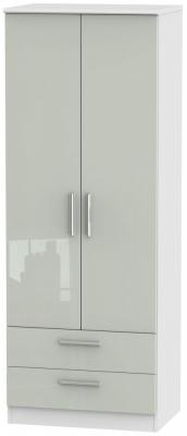 Knightsbridge 2 Door 2 Drawer Tall Wardrobe - High Gloss Kaschmir and White