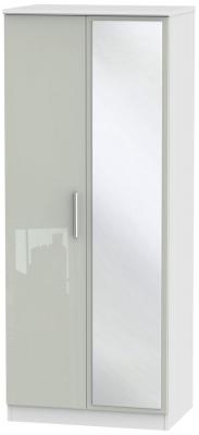 Knightsbridge 2 Door Mirror Wardrobe - High Gloss Kaschmir and White