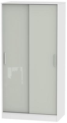 Knightsbridge 2 Door Sliding Wardrobe - High Gloss Kaschmir and White