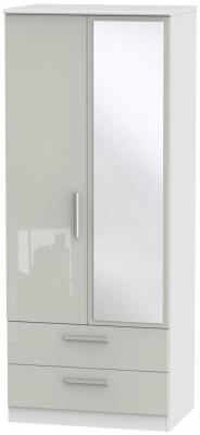 Knightsbridge 2 Door Tall Combi Wardrobe - High Gloss Kaschmir and White