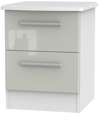 Knightsbridge 2 Drawer Bedside Cabinet - High Gloss Kaschmir and White