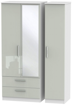 Knightsbridge 3 Door 2 Left Drawer Combi Wardrobe - High Gloss Kaschmir and White