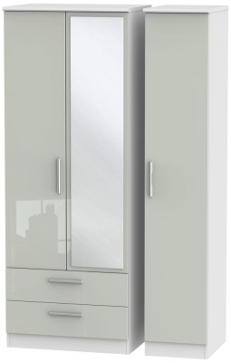 Knightsbridge 3 Door 2 Left Drawer Tall Combi Wardrobe - High Gloss Kaschmir and White