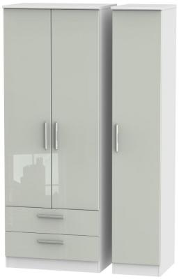Knightsbridge 3 Door 2 Left Drawer Tall Wardrobe - High Gloss Kaschmir and White