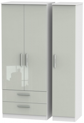 Knightsbridge 3 Door 2 Left Drawer Wardrobe - High Gloss Kaschmir and White