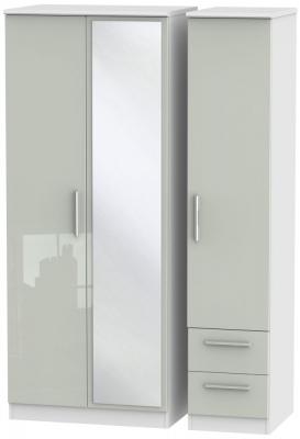 Knightsbridge 3 Door 2 Right Drawer Combi Wardrobe - High Gloss Kaschmir and White