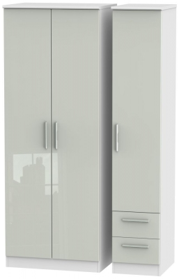 Knightsbridge 3 Door 2 Right Drawer Tall Wardrobe - High Gloss Kaschmir and White