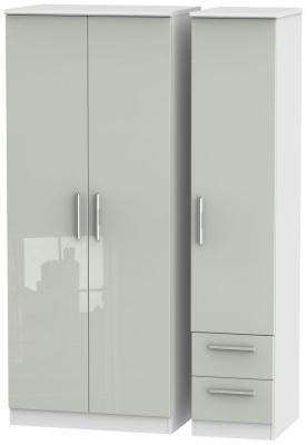 Knightsbridge 3 Door 2 Right Drawer Wardrobe - High Gloss Kaschmir and White
