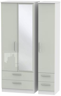 Knightsbridge 3 Door 4 Drawer Tall Combi Wardrobe - High Gloss Kaschmir and White