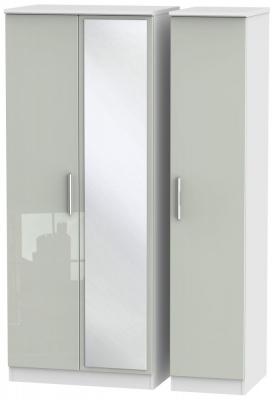 Knightsbridge 3 Door Mirror Wardrobe - High Gloss Kaschmir and White