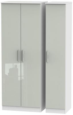 Knightsbridge 3 Door Tall Wardrobe - High Gloss Kaschmir and White