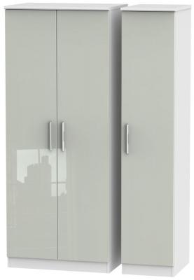 Knightsbridge 3 Door Wardrobe - High Gloss Kaschmir and White