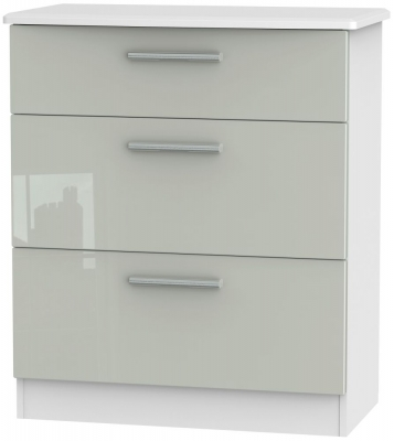 Knightsbridge 3 Drawer Deep Chest - High Gloss Kaschmir and White