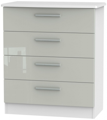 Knightsbridge 4 Drawer Chest - High Gloss Kaschmir and White