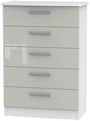 Knightsbridge 5 Drawer Chest - High Gloss Kaschmir and White