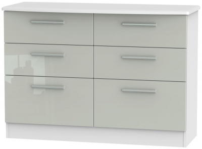 Knightsbridge 6 Drawer Midi Chest - High Gloss Kaschmir and White