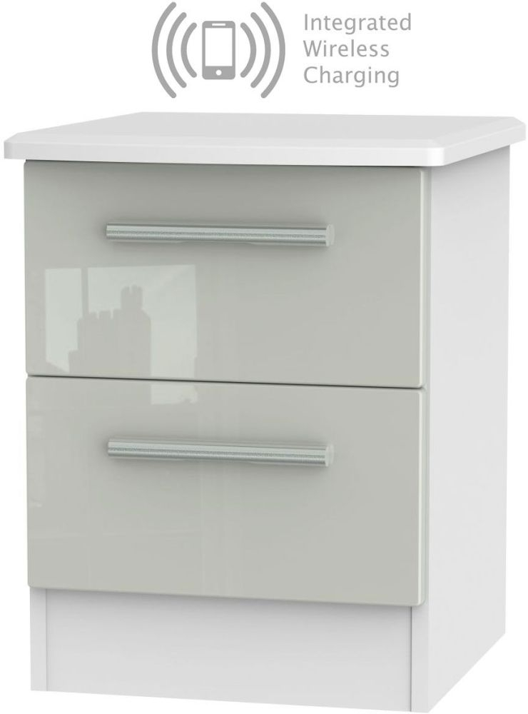 Knightsbridge 2 Drawer Bedside Cabinet with Integrated Wireless Charging - High Gloss Kaschmir and White