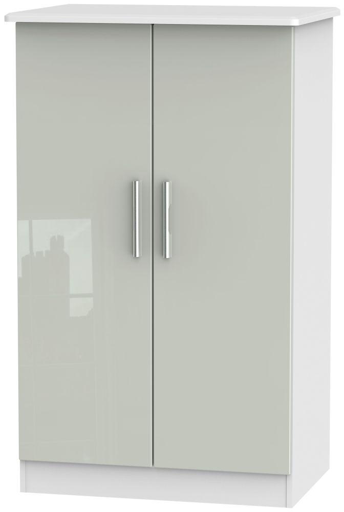 Knightsbridge 2 Door Midi Wardrobe - High Gloss Kaschmir and White