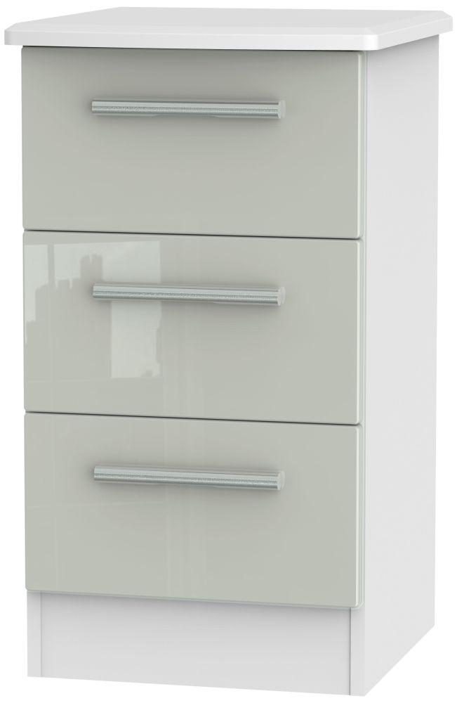 Knightsbridge 3 Drawer Bedside Cabinet - High Gloss Kaschmir and White