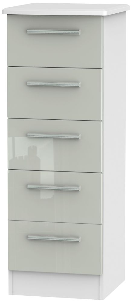 Knightsbridge 5 Drawer Tall Chest - High Gloss Kaschmir and White