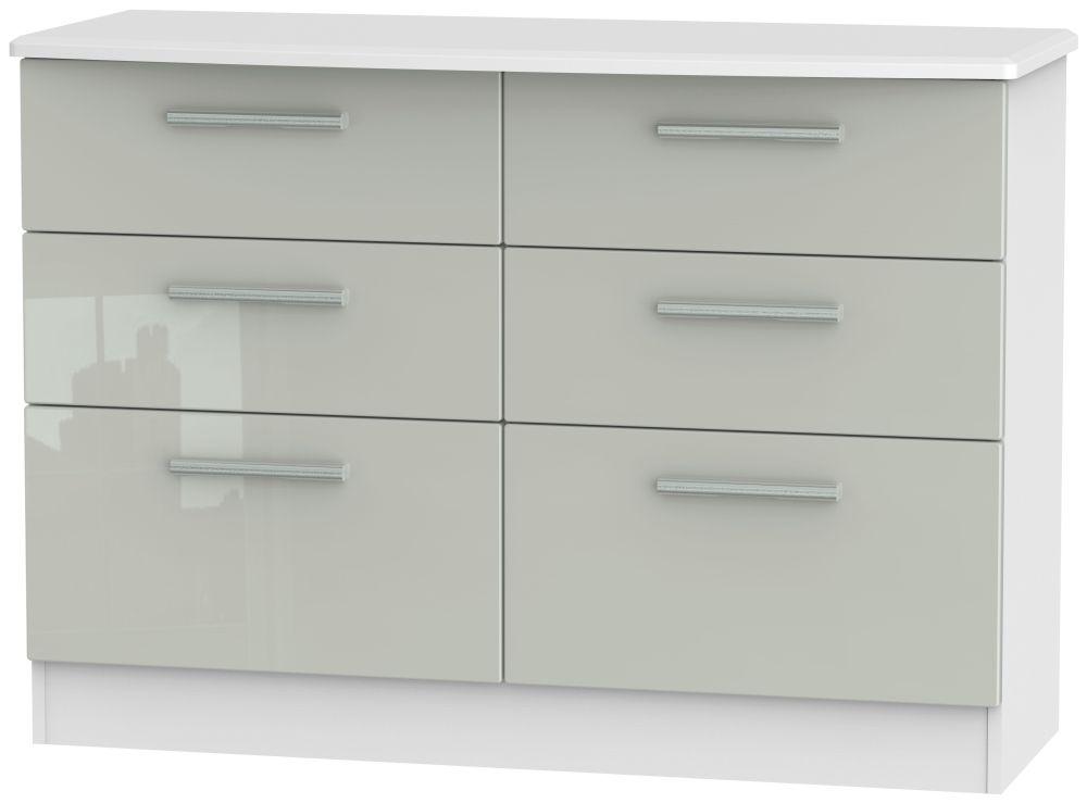 Knightsbridge 6 Drawer Midi Chest - High Gloss Kaschmir and White